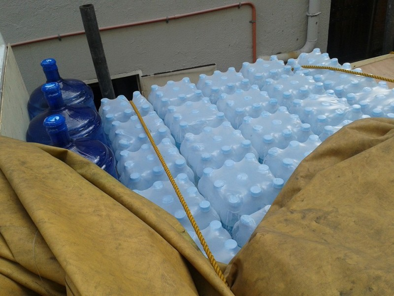 Water and other supplies on the way to Medellin. Photo by Raffy Ruiz.