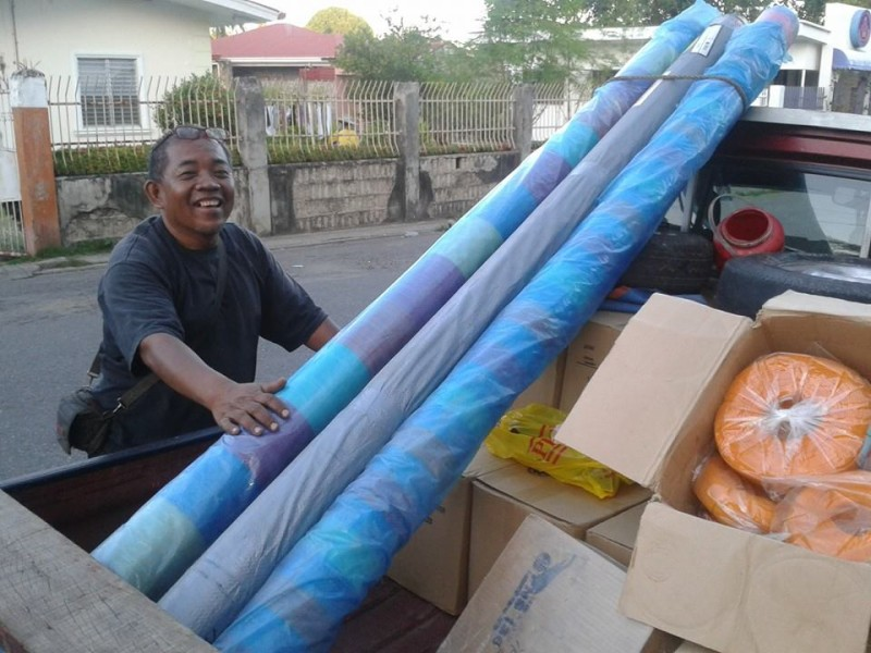 Tarps and other supplies for Bantayan Island. Photo by Raffy Ruiz.